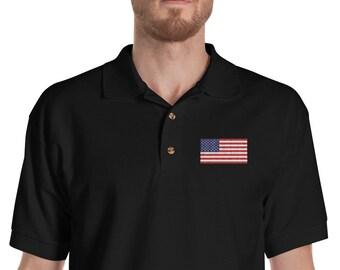 1381f8cc American Flag Embroidered Polo Shirt