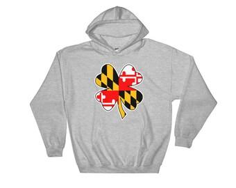 Maryland Flag Irish 4 Leaf Clover Hooded Sweatshirt