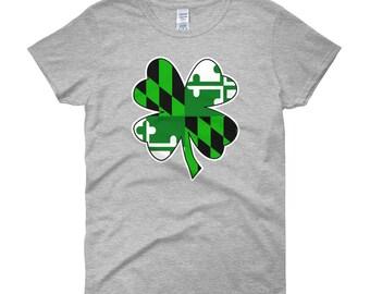 Maryland Flag Green Shamrock Women's short sleeve t-shirt