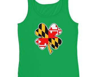 Maryland Flag Shamrock 4 Leaf Clover Ladies' Tank Top