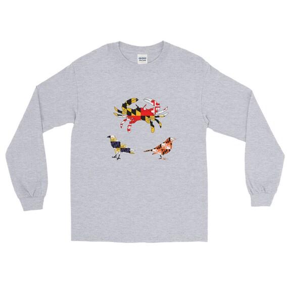 b0135655 Maryland Flag Crab Ravens Orioles Bird Long Sleeve Shirt