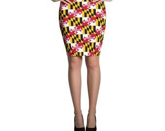 Maryland Flag Checker Pattern Pencil Skirt