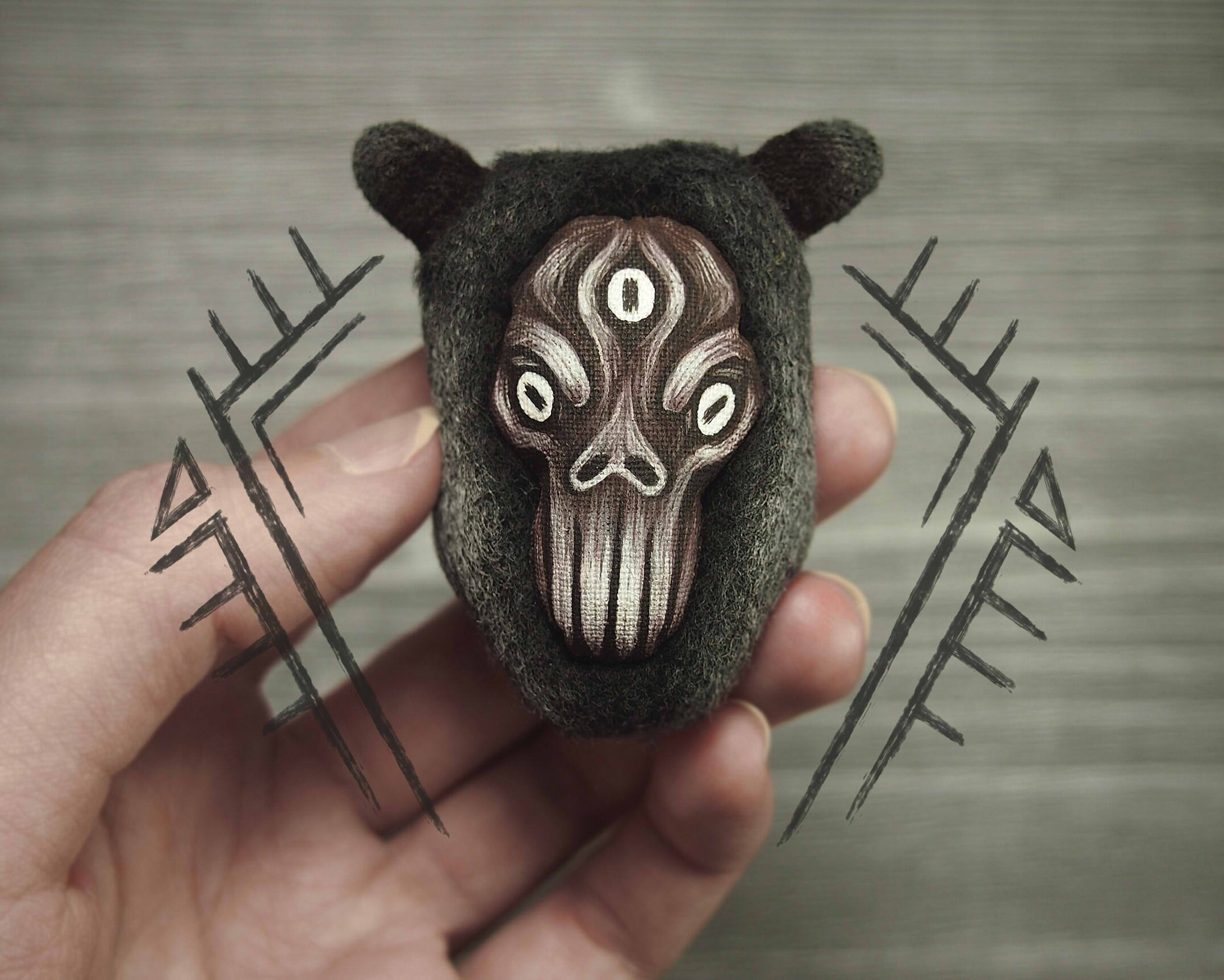 Creepy jewelry Demon Cloth brooch Third eye creature Weird | Etsy