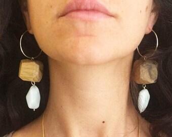 Wooden Hoop Earrings, Long Hoop Earrings, Women Crystals Earrings, Dangle Earrings, African Wood Earrings, Statement Hoop Earrings