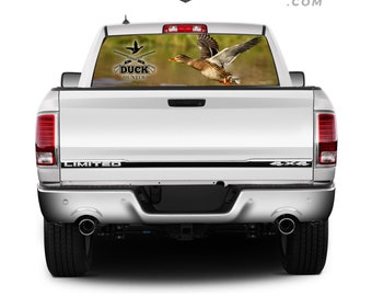 High Quality Pick-Up Truck Perforated Rear Window Sticker / View-Through Vinyl - Duck Hunter