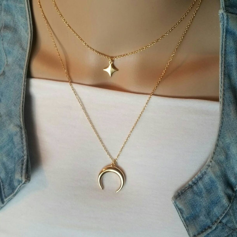 d4c0310041019 Multi strand necklaces x 2, MULTISTRAND, gilded with fine gold Moon  necklace, Choker necklace star necklace, boho necklace, women gift