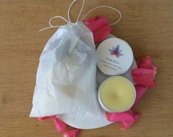 Sleepy Time Gift Set: English Rose Bath Tea Bag and Sleep Balm /Gifts for Women. Spa Gift Set. Organic Skin Care. Gift Ideas. Gift for Her /