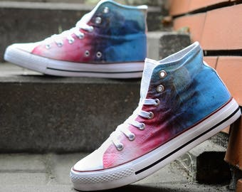 76bf7d05b75115 High top hi tops sneakers white canvas shoes colorful street style  dandelion tie dye gradient pink