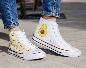 High top hi tops sneakers white canvas avocado green fruit vegan coloful cool shoes