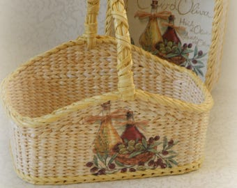 Wicker Rectangle Set Basket With Handle,Vegetable Keeper,Twined Weaving,For  Serve Food,Kitchen Storage Holder,For Napkins,Onion Basket