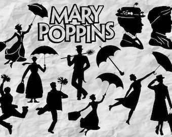 12 Mary Poppins Silhouettes | Mary Poppins SVG cut files | Mary Poppins Cliparts | printable | digital files | vectors | instant download
