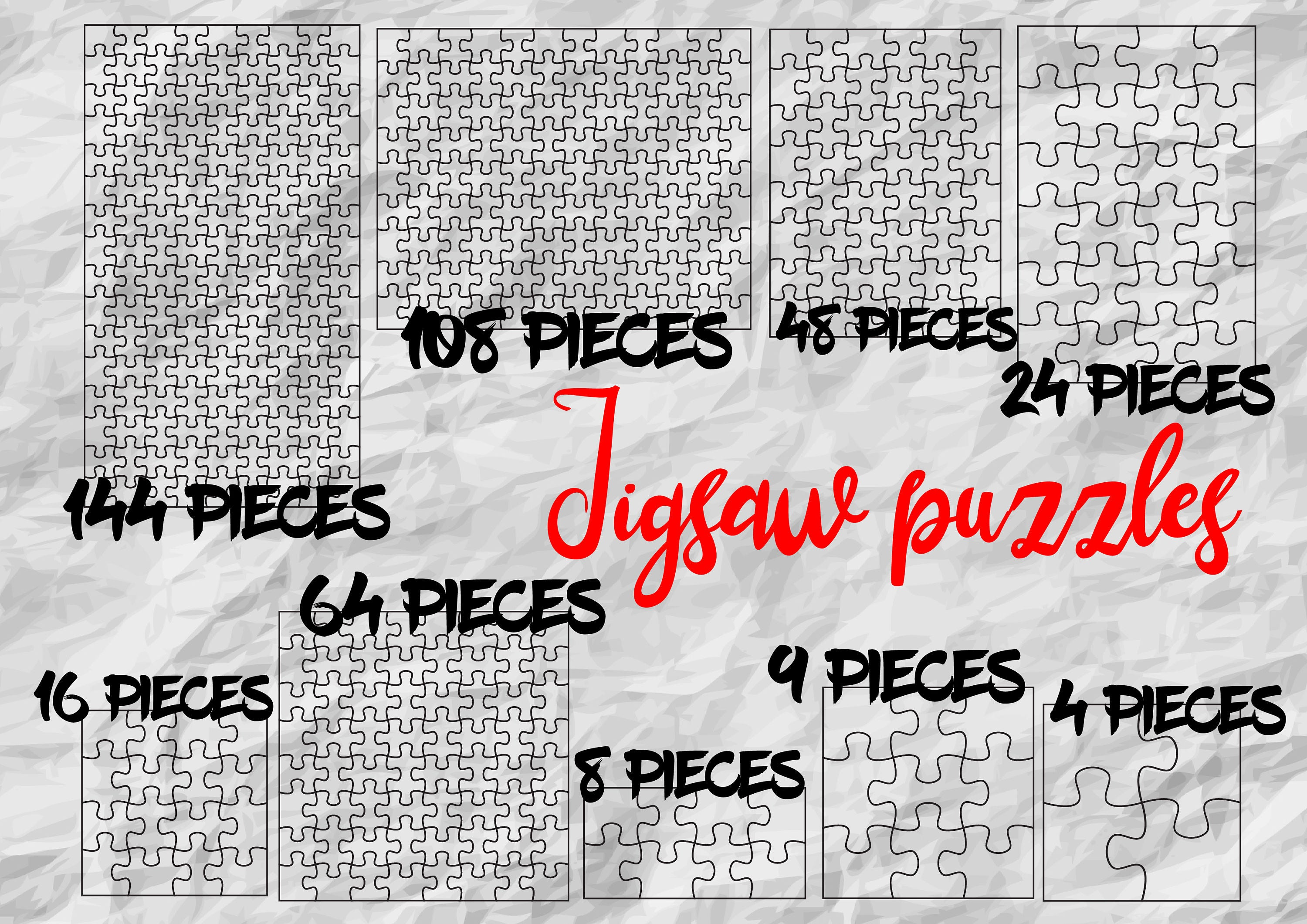 9 Jigsaw Puzzle Templates SVG Cut Files printable | Etsy