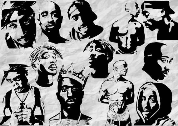 12 Tupac Silhouettes Svg Cut Files Cliparts 2pac Etsy
