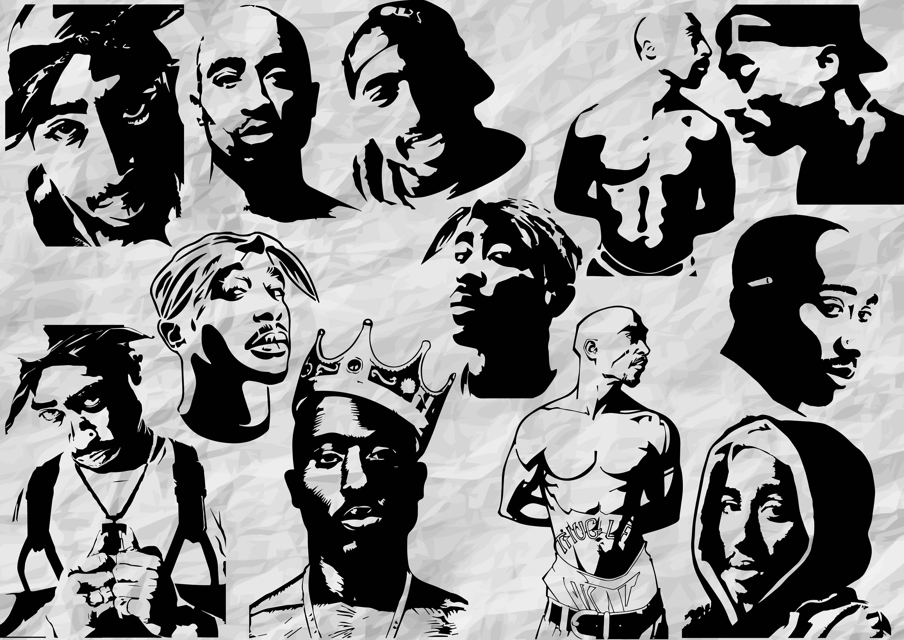 12 Tupac Silhouettes SVG Cut Files Cliparts 2pac