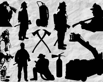 11 Firefighter Silhouettes | SVG cut files | cut files | wall print | firefighters  prints | vector files | digital | instant download
