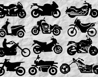 12 Motorcycle silhouettes | motorcycle SVG cut files | motorcycle vinyl design | vectors | cliparts | printable | digital files | wall print
