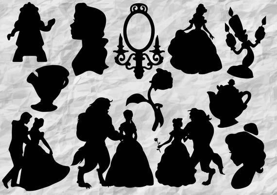 12 beauty and the beast silhouettes svg cut files etsy