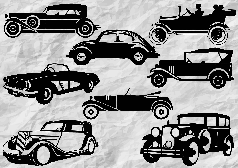 8 Classic Car Silhouettes | Classic Cars SVG cut files | Classic ...