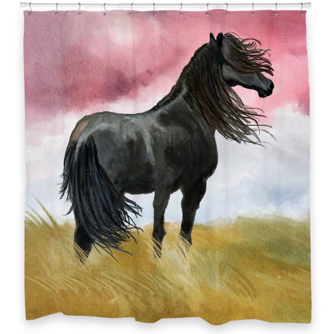 Black Horse Shower Curtain 72 X 66