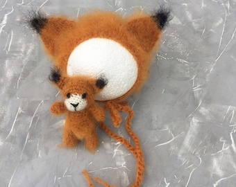 Fox, fox outfit , knitted toys, props for photography , props for photo, hat, newborn bonnet
