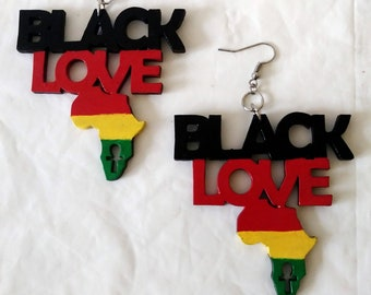 Wood Egyptian Ankh Earrings  Brown Red Green Black African Colors