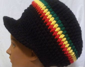 Slouchy Hat Dreadlock Tam Newsboy Cap Slouch Beanie Brimmed Beret Pan  African Rastafari Crown Ethiopia c264aebc99b