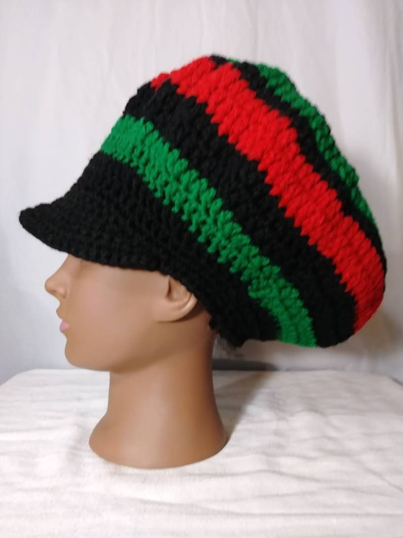 5decf66d2e3 Crochet Rasta Tam   Dreadlock Hat   Slouchy Newsboy Cap with