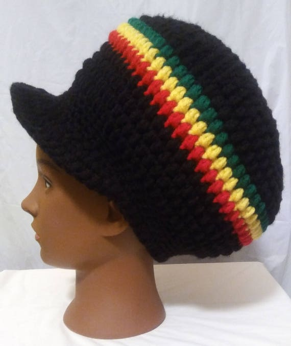 Rasta Reggae Stripe Oversize Slouch Pull On Beanie Cap Hat Red Green Yellow