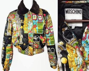 fbea282a0f0 RARE Vintage Moschino Casino Slot Machine Theme Bomber Jacket faux Fur  SMALL MEDIUM