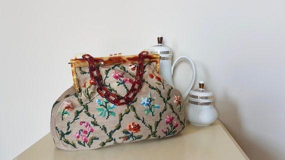 1950s tapestry handbag - Vintage Floral Needlepoin