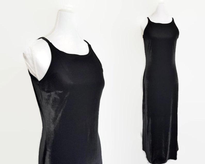 12c115a90f2 Vintage velvet maxi slip dress 80s Grunge Goth Witch black