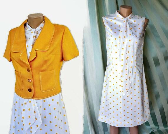 70s two piece dress set - white polka dot mod dres