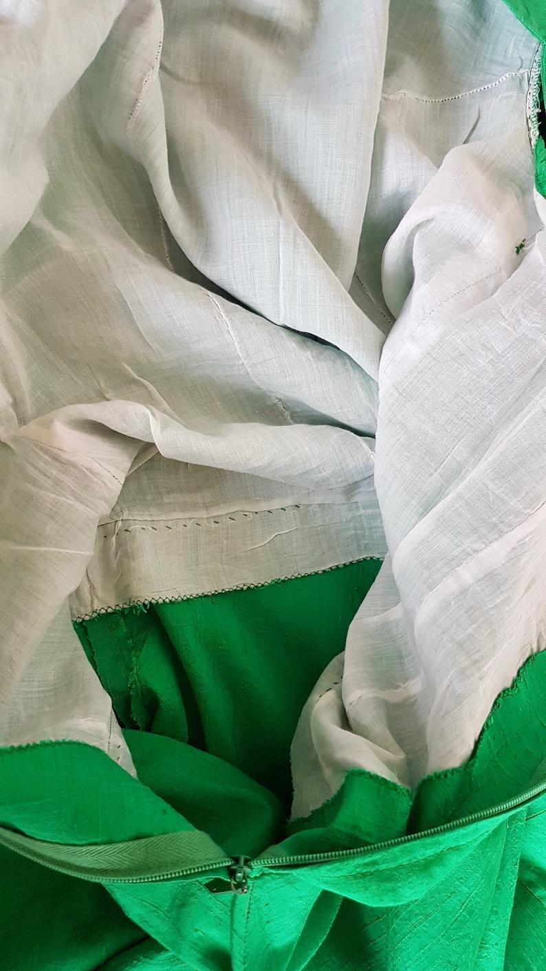 1960s green silk dress formal event MEDIUM