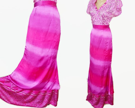 80s silk pink maxi skirt ombre gypsy hippie boho s