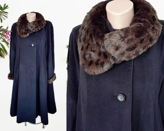 1980s wool and fur princess coat