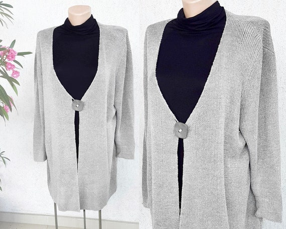 80s silver grey knit linen oversized cardigan