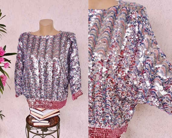 80s sequin top blouse with butterfly sleeve - silv
