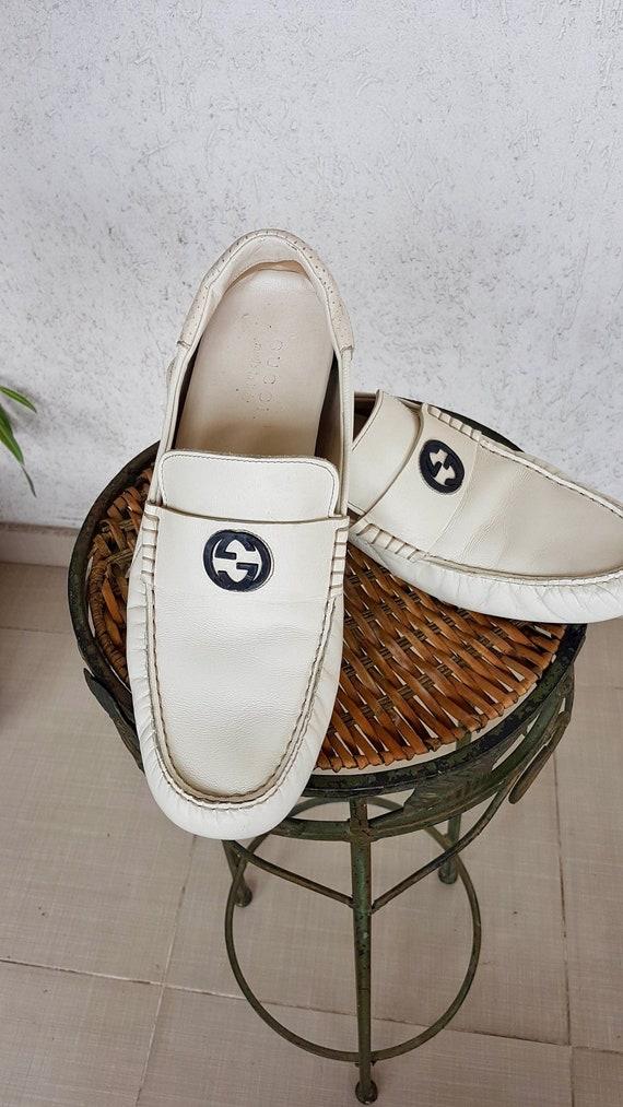 GUCCI Men's Vintage 90s 80s White Leather Authenti