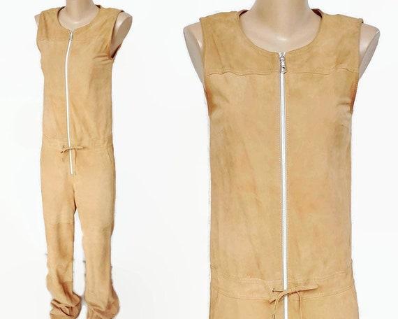 VTG suede leather camel brown  jumpsuit / 90s goat