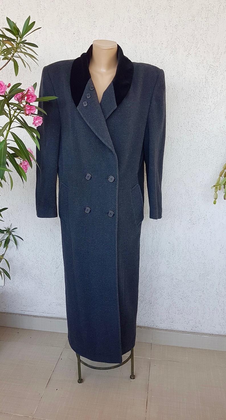 80s grey wool and velvet coat  steampunk floor length coat MEDIUM