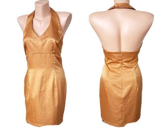 90s golden bronze satin mini party dress backless