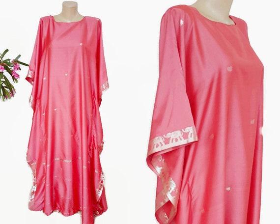 60s Vintage Indian Dress Pink Gold Kimono Brocade