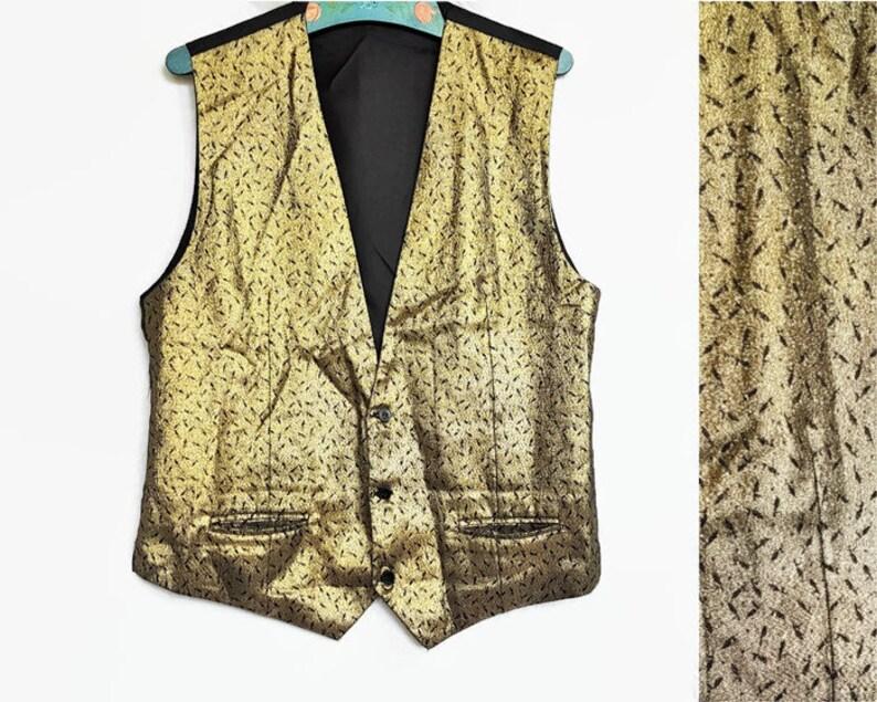 98c1bb3b41 Retro mens gold vest 90s disco glitter waistcoat 42/44 | Etsy