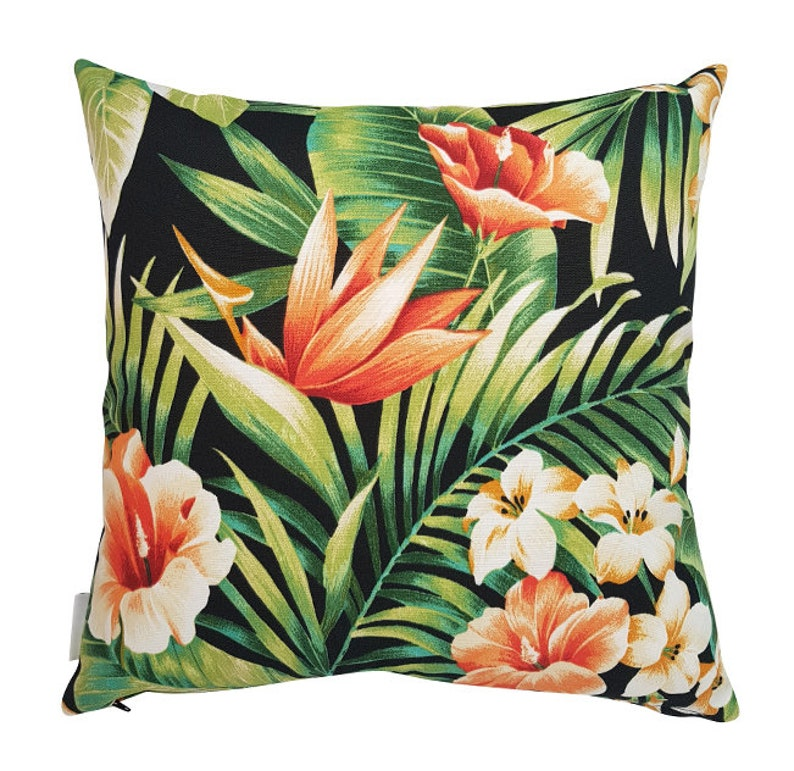 Tropical Outdoor Cushions Bird Of Paradise Green Outdoor Cushion Outdoor Pillows Seat Cushions Chair Cushions Scatter Cushions