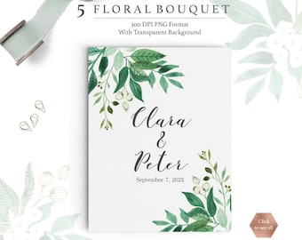 Watercolor Floral Bouquet: Printable Spring Greenery Bouquet Printable / Wedding  Invitation Clip Art / Florals And Greenery /B07106