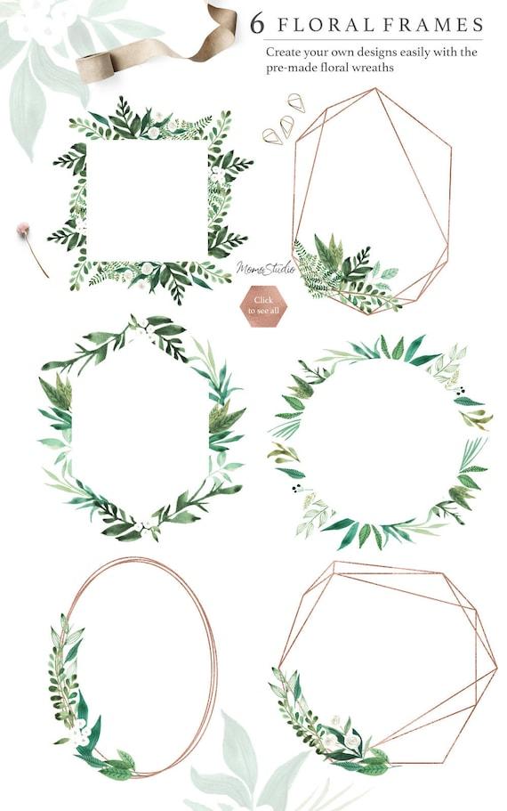 Aquarell Blumen Rahmen: Digital Frühling Sommer grün Rahmen | Etsy