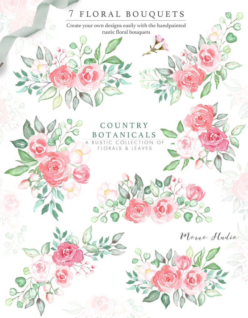 Watercolor Floral Bouquets Country Floral Greenery Bouquets Etsy
