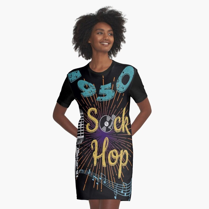 fb9bba12b66 1950s Sock Hop Fifties Dress - Invitation to a 50s Rockabilly Party? -  Black Dress, Made and Printed in the USA