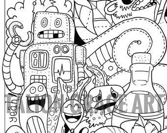 Colouring pages digital download (4 pack).