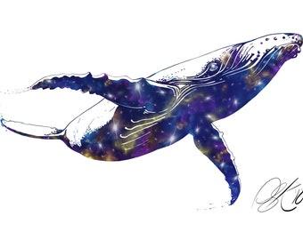 Galaxy Whale print.